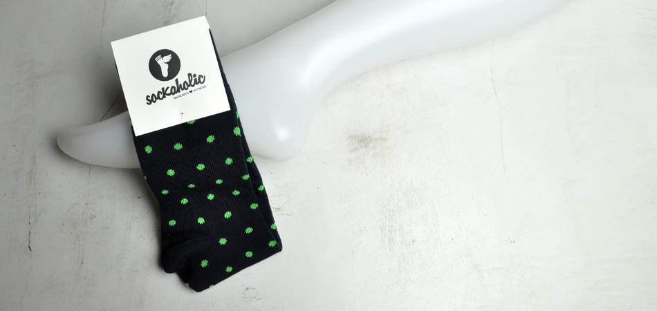 calcetines sockaholic - topos verdes chillón